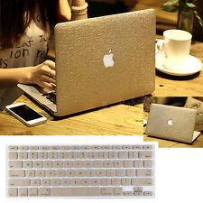 Gold Silk Leather Hard Case Cover & Keyboard Skin For Macbook Air 13 A1369 A1466