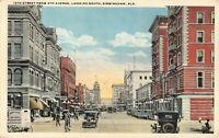 19th Street from 4th Avenue Birmingham AL Alabama Chrome Lithograph Postcard