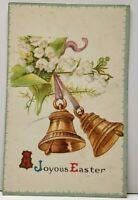Joyous Easter Bells Embossed Postcard G1
