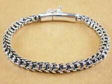"New Handmade Oxidized Bali Style Scales 925 Sterling Silver Bracelet 7.5"" 28g"