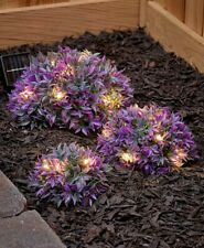 Set of 3 Purple Solar Light Half Ball Garden Ground Plants Yard Lawn Patio Decor