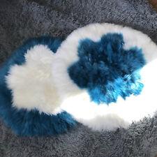 Real Sheep Fur Cushion Long Wool Chair Sofa Car Seat Mat Pad Carpet Peacock blue