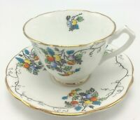 Vintage Cup & Saucer Gladstone Bone China England Multicolor