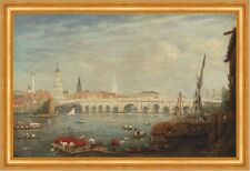 The Monument and London Bridge Frederick Nash England Themse Brücke B A3 01950