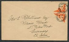 1941 Guernsey 2d Centennial Bisects on Cover to St Peter Port Very Fine Used