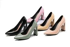Ladies Pointed Shoes Synthetic Leather High Blcok Heels Party Pumps US Size S234