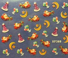 Nail Art 3D Decal Stickers Christmas Santa Moon Stars Party Hat Holiday XF360