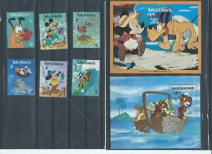 Turks & Caicos Islands stamps. A few Disney stamps MH / MNH.  (P984)