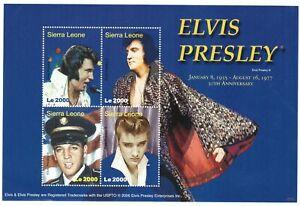 Sierra Leone Elvis Presley 30th Anniversary Sheet Of 4 Stamps #2972