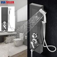 Stainless Steel Shower Panel Column Tower Spa Jet Hand Shower Complete Combo Kit