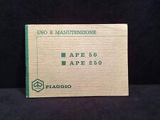 Manuale  PIAGGIO APE 50 250 Uso e Manutenzione prima edizione