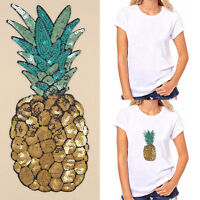 Pineapple Embroidered Iron on Patch Sequins DIY Clothes Applique Sticker Badge C