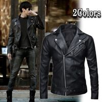Men's Autumn Leather Jacket Slim Fit Motorcycle Jacket Zipper Casual Coat