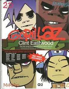 Blur GORILLAZ Rare VINTAGE Clint Eastwood PROMO TRADE AD Poster for 2001 CD MINT
