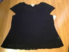 NWT Womens Coldwater Creek Size 2x 20 22 Black knit sweater