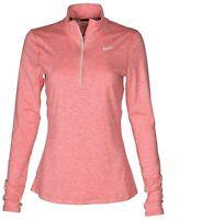 NEW Nike Dri-Fit Women's Sz M 1/2 Zip Long Sleeve Running Layer 904900 300 Pink