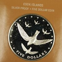 1977 Cook Islands Proof Silver Swallow $5 Coin Franklin Mint