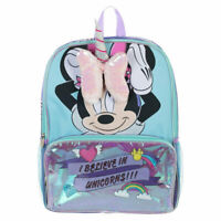 Disney Minnie Mouse Girls Unicorn School Backpack Book Bag 3D Bow Toy Gift Kids