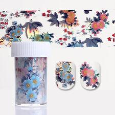 1 Roll Starry Nail Foil Colorful Flower Leaf Pattern Transfer Sticker 4*100cm