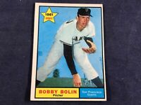 K4-98 BASEBALL CARD - BOBBY BOLIN SAN FRANCISCO GIANTS - 1961 TOPPS - CARD #449