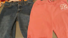 Girls cropped pants 2 pair, denim and athletic