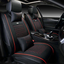 US Black/Red 5-Seat Car PU Leather Seat Covers Cushion Front+Rear+Free Pillows