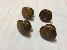 Lot 4 Vtg Antique Round Domed Painted Wood Drawer Pulls Cabinet Knobs 3.75cm