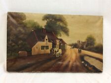 K Rogers Original Painting on Canvas Rural Scene Pilgrim Era America