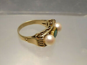 antik Ring 585 Gold Smaragd 2 große echte Perlen ⌀ innen 18-19,4 mm // 6,7 g