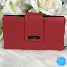 NWT Kenneth Cole Reaction Women's Salmon Coral BiFold Utility Clutch Wallet $50