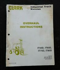 CLARK CLARKLIFT IT 50D 60D 70D 80D FORKLIFT LIFT TRUCK SERVICE OVERHAUL MANUAL