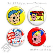 "BAZOOKA JOE Bubble Gum Club Comic -  1"" Badge x4 25mm Badges NEW"