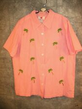 NWT QUACKER FACTORY Pink Gingham Shirt S M Palm Trees