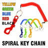 SPIRAL KEY CHAIN Retractable Clip On Ring Stretchy Elastic Coil Spring Keyring