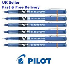 Pilot V5 Blue Hi Tech Point Rollerball Pen Extra Fine Pack of 6