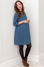 New JoJo Maman Bebe Maternity Blue Diamond Print Shirt Dress US 2 4 XS; UK 8