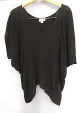 WITCHERY Black Knit Asymetrical Hem Grunge Style Short Sleeved Top - size Small