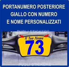 PORTANUMERO ADESIVO POSTERIORE GIALLO CON NOME E NUMERO PERSONALIZZABILE - KART