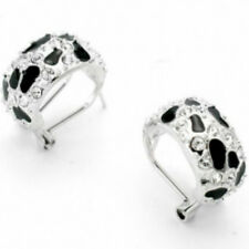 White gold and black enamel earrings omega back quality gift jewellery UK seller