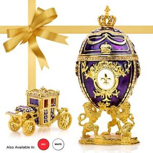 """Royal Imperial Purple Faberge Egg: Extra Large 6.6"""" with Faberge carriage"""