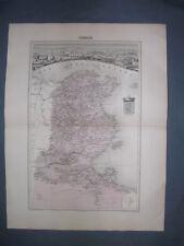 Tunisie carte géographique ancienne coloriée de la Tunisie 19° siècle (1880)