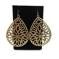 Gold Brass Bronze Tone Open Work Metal Filigree Teardrop Dangle Earrings Boho