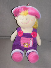 Russ Berrie Dollies Doll Baby Girl Soft Velour Cloth Learn To Dress Overalls Hat