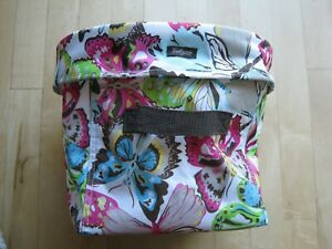 Thirty-One Mini Utility Bin Butterfly Pattern Webbed Handles Collapsible