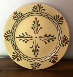 """Rowe Pottery Slip Glaze Plate Signed Bob Timberlake Old Salem Collection 10"""""""