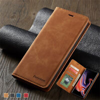 For Samsung Galaxy A6 A8 A750 J4 J6 Leather Wallet Case Magnetic Slim Flip Cover