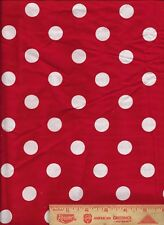 """Bright Red White Polka Dot christmas valentine's bolt end scrap fabric 8"""" by 44"""""""