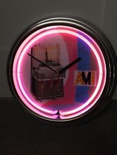 AMI I200 JUKEBOX PINK NEON CLOCK RETRO CHROME AMI,ROCKOLA,WURLITZER, XMAS ??