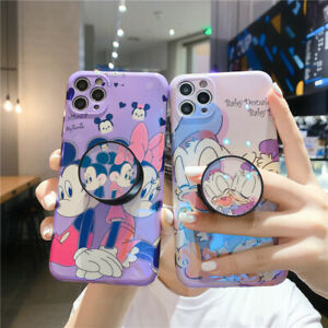 For iPhone 12 11 Pro Max XS XR 7 8+ Cute Cartoon couple Stand Holder phone case