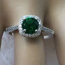 Art Deco Vintage Jewellery Sterling Silver Ring Emerald Sapphires Antique
